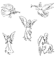 Angels Pencil sketch by hand vector image vector image