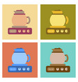 assembly flat icons coffee kettle stove vector image vector image