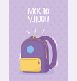 back to school purple backpack background vector image vector image