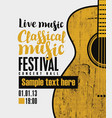 banner for festival classical music with a guitar vector image vector image