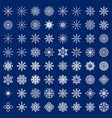 big set snowflakes on blue background vector image