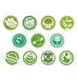 Bio eco organic and natural green labels vector image vector image