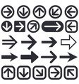 black arrow icons web flat signs vector image