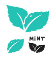 blue mint leave icon on white mint leaves vector image vector image