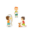 boy babysitting cleaning house grooming his dog vector image vector image