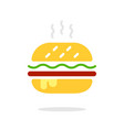 burger sign icon in flat style hamburger colorful vector image vector image