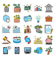 business and finance icons set on white background vector image