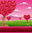 cartoon garden with shades of pink on valentines d vector image