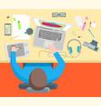 cartoon interior designer workflow card poster vector image