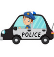 cartoon officer police driver car vector image vector image