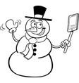 cartoon snowman holding a cell phone vector image vector image
