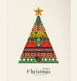christmas and new year vintage folk pine tree card vector image vector image
