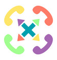colorful handset flat icon set with cross vector image vector image