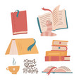 cozy set of colorful books book stacks piles vector image vector image