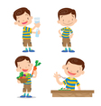 Cute boy character cartoon many action vector image vector image