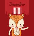 cute fox calendar cartoon vector image