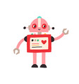 cute happy robot with heart adorable baby vector image