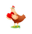 cute kawai hen with big red heart in wings over vector image vector image