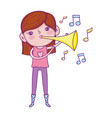 cute little girl playing trumpet vector image