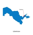 Detailed map of Uzbekistan and capital city vector image vector image