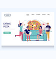 eating pizza website landing page design vector image vector image