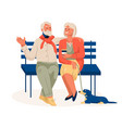 elderly couple sitting on bench resting in city vector image