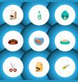 flat icon pets set of dog food feeding shears vector image vector image