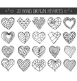 Hand drawing hearts doodle setOutline geometric vector image