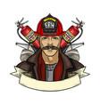 hand drawn sketch fireman icon vector image vector image