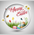 happy easter egg with round frame vector image vector image