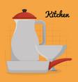 kitchen utensils equipment icons vector image vector image