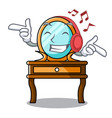listening music dressing table mascot cartoon vector image