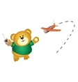 Little bear playing airplane vector image vector image