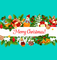 merry christmas gifts greeting card vector image vector image