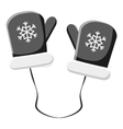 Mittens with snowflake icon gray monochrome style vector image vector image