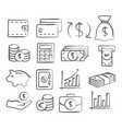 money doddle icons vector image