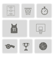 monochrome set with basketball icons vector image