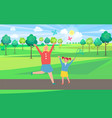 mother and daughter catching butterflies in park vector image