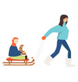 mother pulling sled with child holding plush bunny vector image vector image