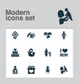 mothers day icon design concept set of 12 such vector image vector image
