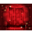 Open Red Curtains with Neon Lights vector image vector image