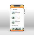 orange playlist ui ux gui screen for mobile apps vector image vector image