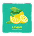 organic fruits concept - fresh lemons grunge card vector image vector image