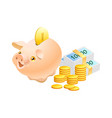 piggy bank with realistic golden coins isolated vector image vector image