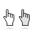 pixel hand on white background vector image vector image