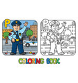 policeman profession abc coloring book alphabet p vector image