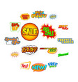 pop art comic sale discount icons vector image vector image