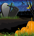 Pumpkins near the graves vector image