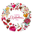 round frame with sketch valentines day icons vector image vector image