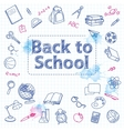 school doodle on checkered page vector image vector image